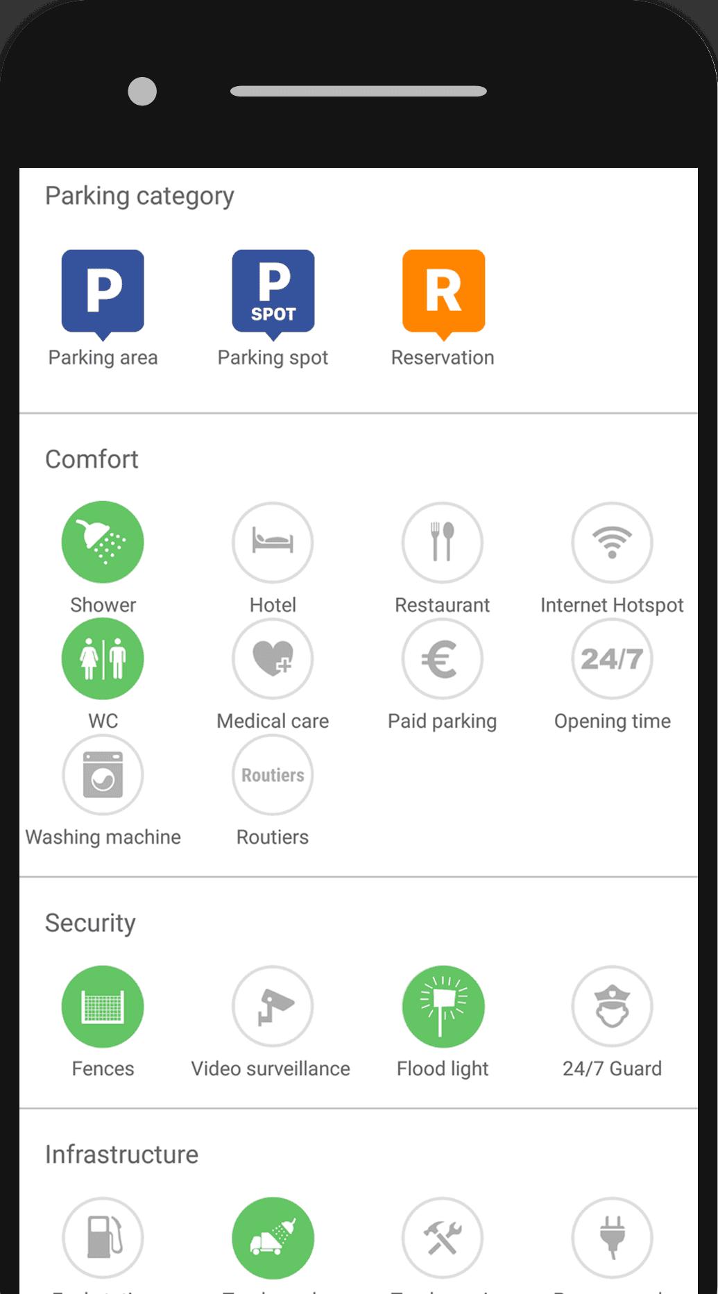 App Truck Parking Filters